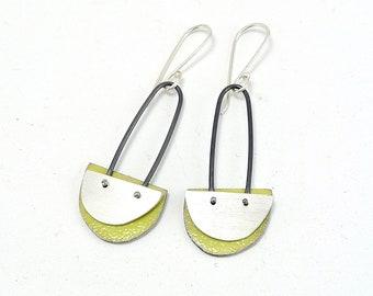 Sterling and Enamel Half Moon Earrings - E2991
