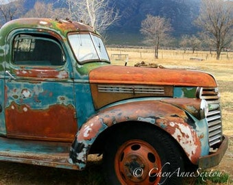 Chevy Old Brown Blue and Rust Pickup 'Out in the Field' - Antique farm vehicle photograph 8x8 10x10 12x12 square