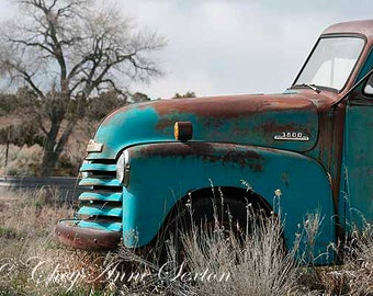 Oversized Art Old Blue 3800 Chevy Truck 1952 Big CANVAS 32x48 Vintage Chevrolet Antique Teal Turquoise Farm Pickup extra LARGE