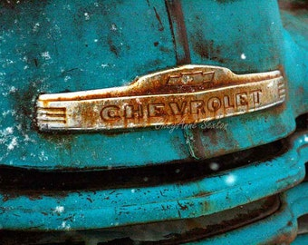 Old Blue Chevy Rusty Truck Grill with snowflakes photograph 8x10 wall art New Mexico antique pickup Print