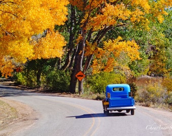 Old Taos Truck Print Blue Chevy Heading Up the Road Orange Autumn Colors New Mexico Photography Antique Chevrolet Pickup 8x12 print