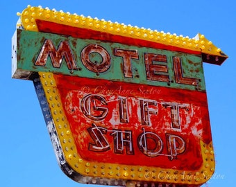 Old Neon Signs Motel Gift Shop Retro signage New Mexico red yellow green 8x10 or 11x14 Photography Print