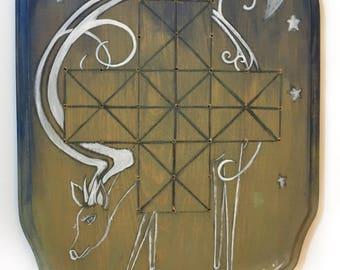 Retable Folk Art - produit avantage Animal Rescue, plateau de jeu, rustique, jeu de cerf, lune et étoiles, Soliatire, OOAK