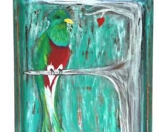 Retables, Quetzal en arbre, Folk Art, œuvres d'art acrylique, procède à l'Animal Rescue, retable étain
