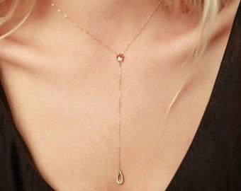 Sunstone Drop Necklace   14k Gold or Sterling Silver Necklace