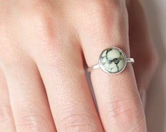 Silver Variscite Ring | One of a Kind Statement Ring | Sterling Silver Ring