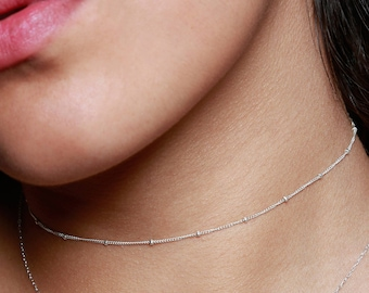 Grains of Sand Choker | Sterling Silver Choker Necklace | Sterling Silver Neckace