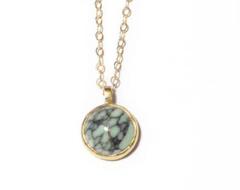 Stone of Truth Necklace | 10mm Variscite Necklace | Gold or Sterling Silver Variscite Stone Necklace