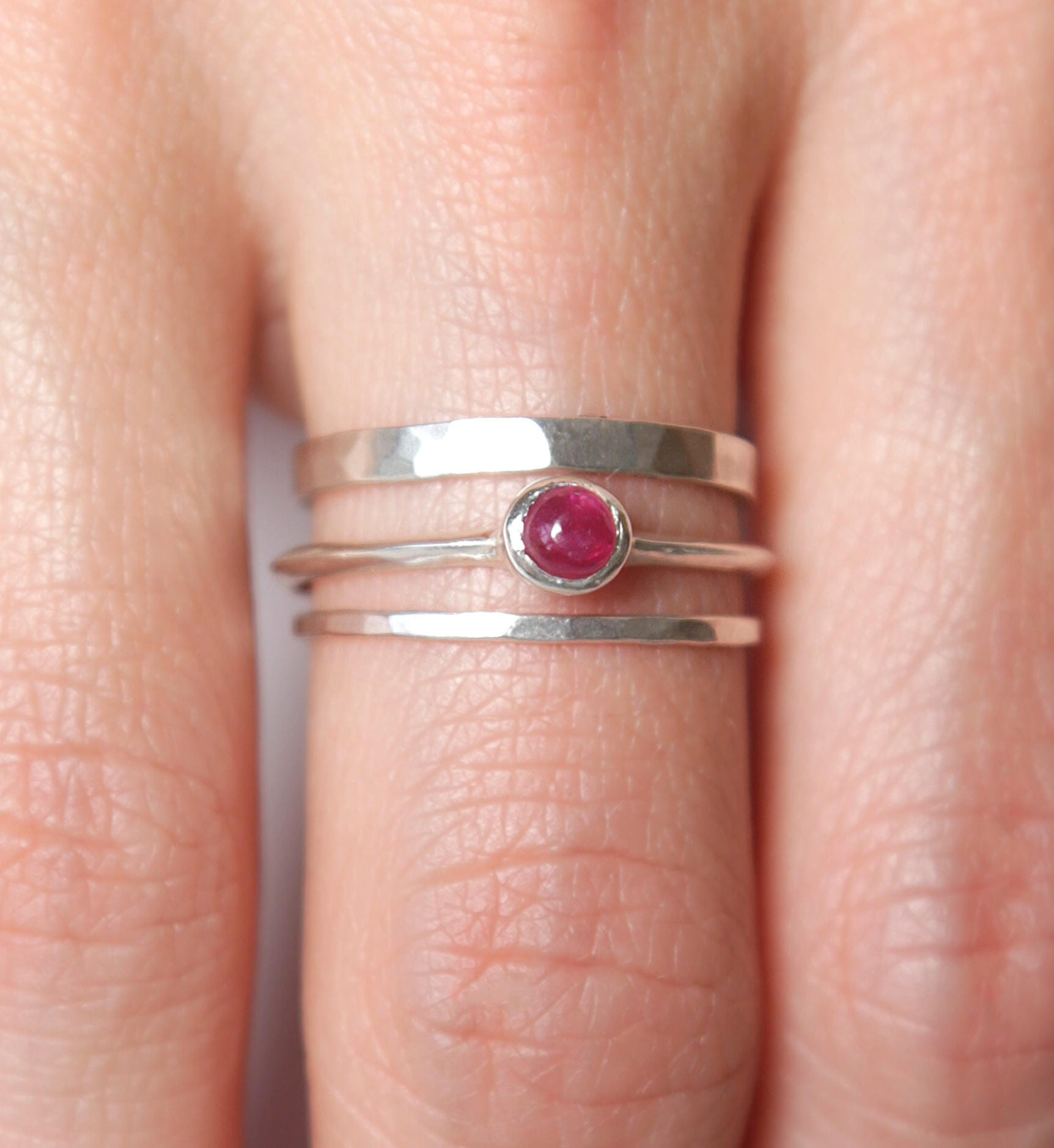 Ruby Ring Set Stering Silver Ring Set Nature Inspired | Etsy