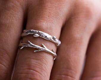 Silver Branch Ring & Twig Ring Set   Stacking Ring Set   Nature Inspired Rings