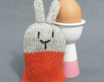 Orange  Easter Bunny Rabbit Egg Cosy, knitted from pure wool, Scotland