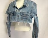 Tattered Cropped Vintage denim jacket L