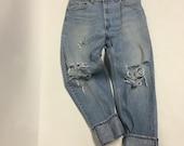 36 Raw Destroyed Vintage Levi Boyfriend jeans size 36 waist denim jeans