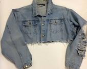 Raw Destroyed Tattered denim jacket XXL