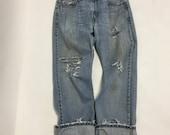 30 Raw Destroyed Vintage Levi Boyfriend jeans 30 waist denim jeans
