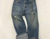 32 Raw Destroyed Vintage Levi Boyfriend jeans size 32 waist denim jeans