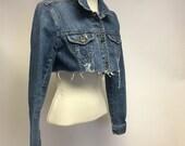 Tattered Cropped Vintage denim jacket S
