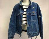 Tattered Dark Denim Vintage denim jacket L