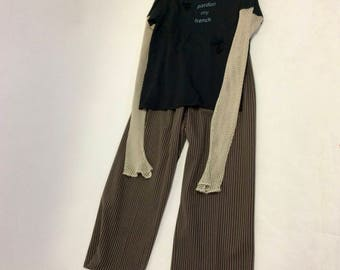 Handmade Wide Legged Jersey Knit Bold Striped Pants XL