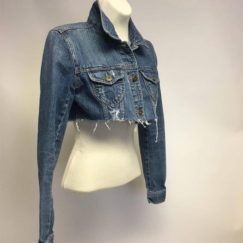 f33da4270c3 Tattered Cropped Vintage denim jacket S | Etsy