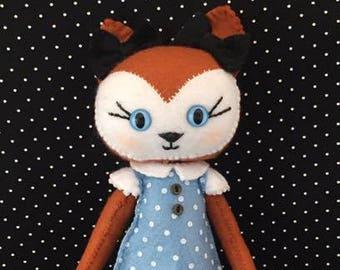 Handstitched Fox Felt Doll Plush Softie Keepsake Doll