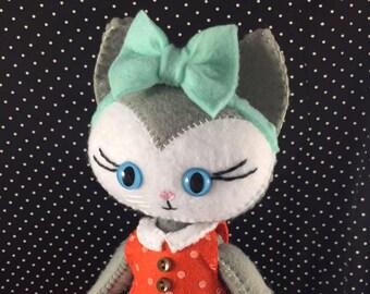 Handstitched Cat Felt Doll Plush Softie Keepsake Doll