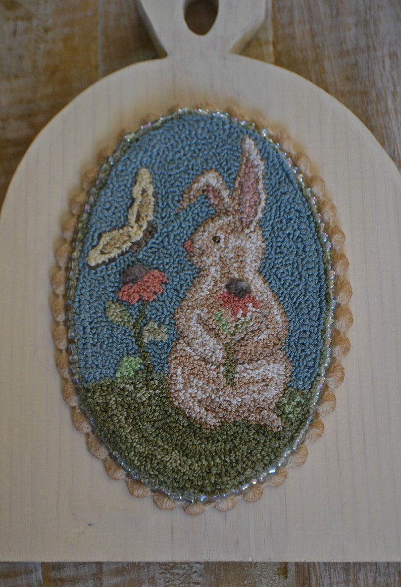 Valdani #8 threads DMC Instant DownloadPDF-A  Bunny and Butterfly Oval 3 12 x 6 inches. punch needle #190323 various loop lenghths