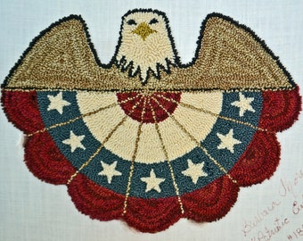 """Instant download/PDF, """"PATRIOTIC Eagle 'n Bunting"""", #180501, Punch Needle Pattern , 7"""" x 5 1/2""""."""