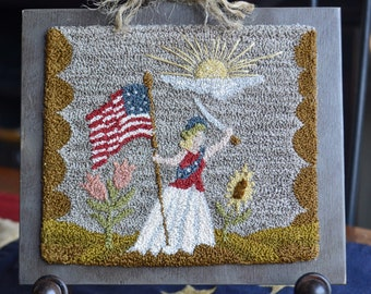 """Instant download, PDF pattern""""Miss LIBERTY""""~#180622 the 'defender of America'~6"""" x 5"""" pattern, 3 dimensional punching, DMC & Valdani threads"""
