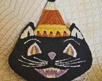 """Instant Download-PDF 170824 -WITCHY CAT -Jol Hauntings #3 - 5"""" tall -Punch Needle Bowl Fillers/Tucks for Halloween Trick & Treats"""