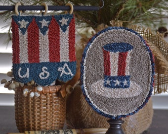 """Instant downloaded PDF """"SAM'S Banner n Hat"""", #190613 Punch Needle Pattern , 4"""" x 5""""."""