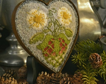 """Instant Downloaded PDF -1795 STRAWBERRY HEART Shaped Mold Punch Needdle pattern -finished size 4.75"""" x 4.75"""""""