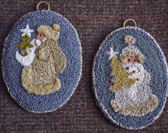Instant Download Pdf Pattern - TAN Santa n GRAY Santa Punch Needle ornaments -  4 x 3 inches oval-DMC floss-different needle depths.