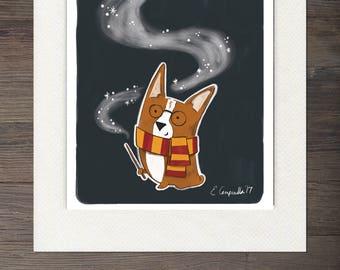 Corgi Harry Potter Matted Art Print