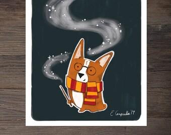 Corgi Harry Potter Print