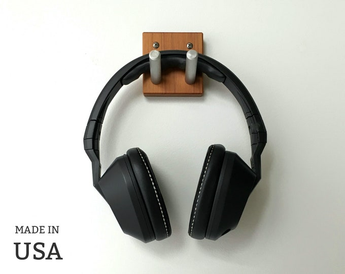 Headphone Wall Hook in Reclaimed Wood and Metal, Terrific Gift for Musician or Gamer