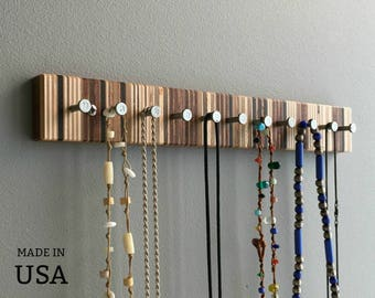 Jewelry Rack, Modern Wood Jewelry Rack for Necklaces, Wall Mountable