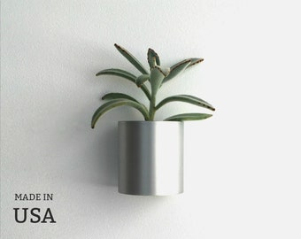 Wall Planter in Recycled Metal, Made in USA from Polished Reused Farm Sprinkler Pipe