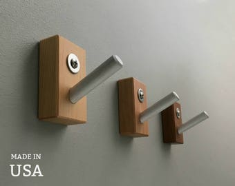 Wall Hooks, Modern Coat Hooks in Solid Reclaimed Wood and Metal, Home Organization, Entryway Decor, Coat Rack Hooks, Made in USA