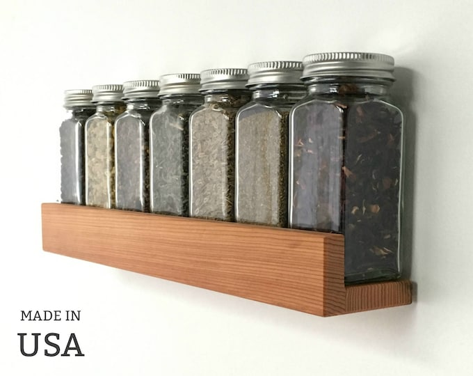 Spice Shelf Modern Wood Low Profile, Reclaimed Wood Kitchen Decor, Spice Organizer, Custom Sizes and Colors by Special Order