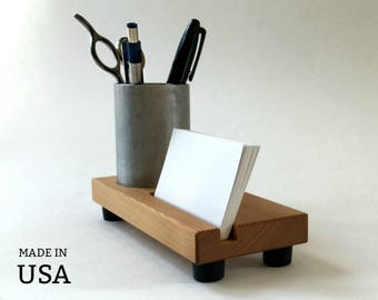 Business Card Holder Pencil Cup Combo, Office Decor, Modern Industrial Style Office Supplies, Reclaimed Wood, Dark Wood or Light, USA Made