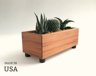 Modern Succulent Planter Made from Reclaimed Wood in USA, Custom Sizes By Special Order