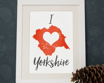 Map of Yorkshire print wall map art mapping of Yorkshire poster wall art typography map
