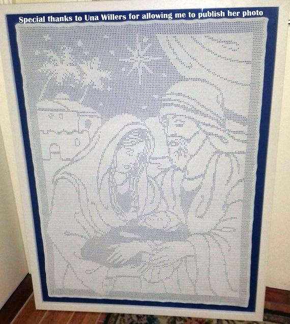 Mary Joseph and Baby Jesus Filet Crochet Reversed Pattern | Etsy