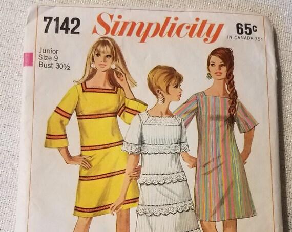 Pattern 1967 Simplicity Dress Jrs Missy