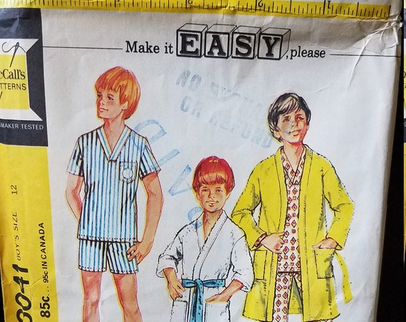 McCalls Boys Pajama & Robe Pattern 1971