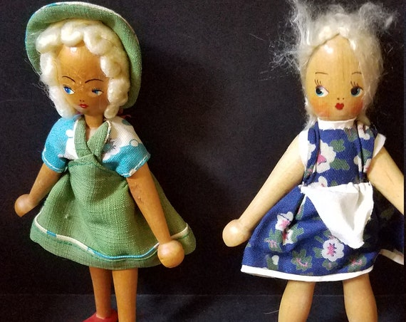 Pair of Dutch Wooden Dolls 1930s
