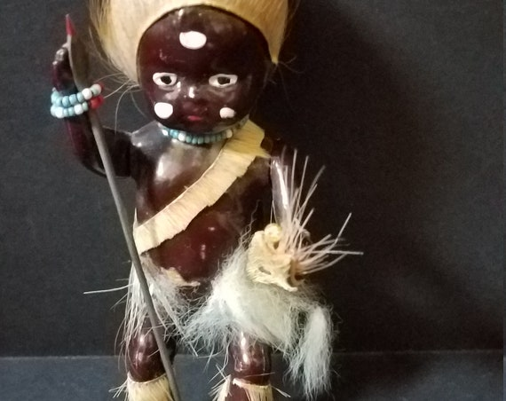 1950s Celluloid Zulu Warrior Doll