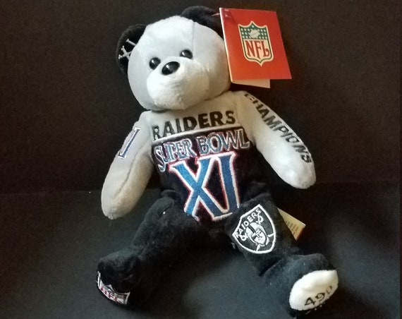 2002 Super Bowl Raiders Vikings Plush Beenie Bear