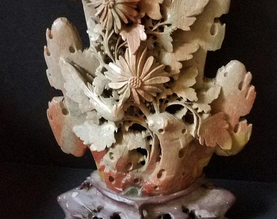 Antique Chinese Soapstone Floral Carving